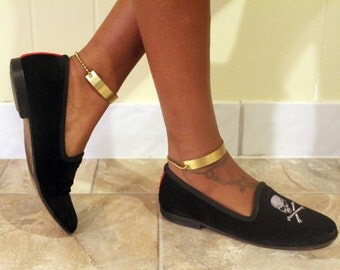Thin Solid Gold-Tone Ankle Cuffs PAIR
