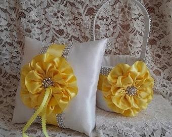 White Flower Girl Basket and Matching Ring Bearer Pillow, Rhinestone Mesh Handle Trim, Yellow Bling Flower Girl Basket, Bling Ring Pillow,