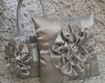 Platinum, Silver Flower Girl Basket and matching Ring Bearer Pillow with Rhinestone Mesh handle and Trim