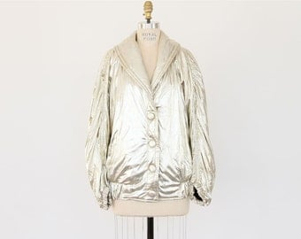 80s Metallic Jacket New Wave Gold Platinum Puffer Coat Avant Garde slouchy club kid shawl collar padded hipster old school Hip Hop outerwear