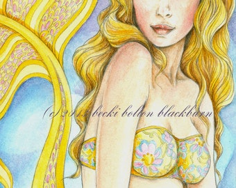 Mermaid Art ~The Sultry Saffron~ Fine art, blank greeting card, fantasy note card, yellows, pinks, and a blue sky