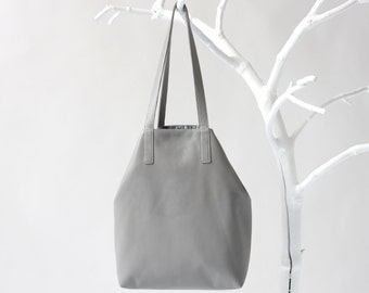 Large Leather Tote Stone Gray with Costum color Lining, big leather shopper, tote bag, shoulder bag