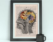 Flowery Brain collage Printed on Vintage Dictionary Book page- Wall decor art,art print, Anatomy wall decor, Flower art print BPSK053b