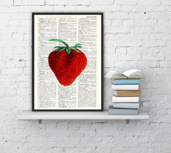Spring Sale Strawberry Wall decor giclee art print, Kitchen Wall art Simple strawberry Book print Red strawberry BPBB093