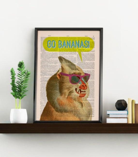 Summer Sale Wall art home decor Crazy Mandrill go Bananas Gift for him Wall decor giclee print Funny gift him gift ANI208