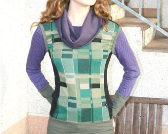 Cowl neck sweater, geometric sweater, geometric sweatshirt, green,purple,black fitted sweater,mod, jumper,patchwork sweater, mondrian, yoga