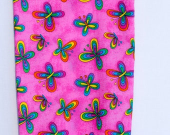 Fabric Plastic Grocery Bag Holder Butterflies on Bright Pink