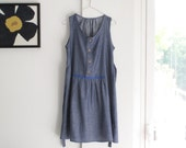 Chambray summer dress. Sleeveless dress, front buttons, loose fit. All seasons evergreen. Sizes S to XL