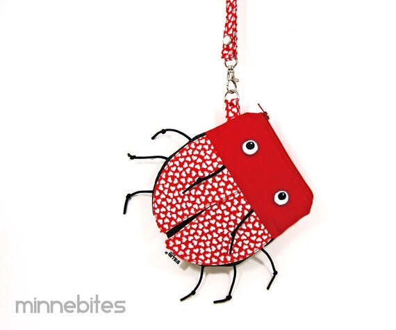 Love Bug Wristlet by MinneBites / Handmade Lady Bug Pouch - Cute Kids Toy Bag - Sweet Red Hearts - Animal Purse for Girls - Ready to Ship