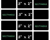 Rectangle Chalkboard Vinyl Labels | 3 x 2 inch | Dishwasher Safe
