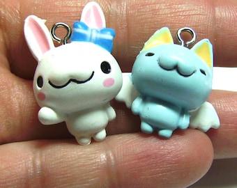 2 Cute Bunny & Kitty Bracelet Charms Plastic Pendants