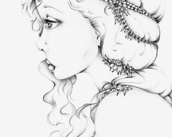 Art Print Fashion Illustration Giclee Fine Art Print of my Original Melancholy Pencil Drawing Girls Room Minimalist Art