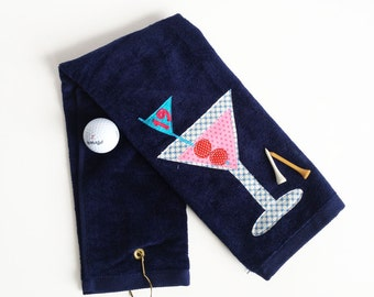 19th Hole Martini Golf Towel, Ladies Golf Towel, Navy Blue Golf Towel