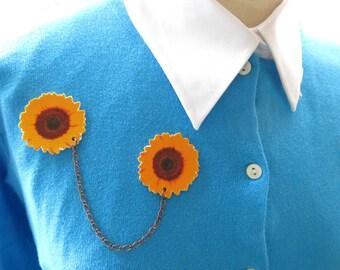 Yellow Sunflower Double Brooch Collar Pin Summer Fashion