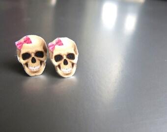 Halloween Earring Scary Skull Stud Earrings Geekery Rockabilly Post Women Jewelry Fun Quirky Retro Pink Bow For Girls