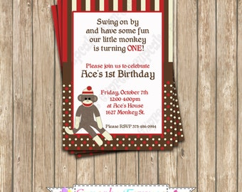 DIY Sock Monkey Birthday Printable Party Invitation red brown monkeu