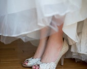 SALE Size 8 Lace wedding shoes metallic peep toe high heels embellished with ivory Venice lace - Ready to Ship