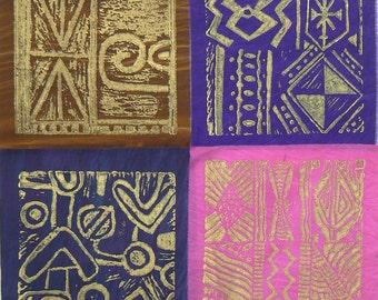 Quilt Blocks, South African Fabric, Lino Print,Pillow Fronts, Pillow Panels, Art Quilt Panels, Abstract Quilt Block, Geometric Design