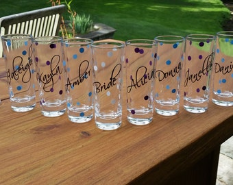 5 Personalized shot glasses, set of 5 for bachelorette or sorority gift idea.  Pick your font and colors. Polka dots, Christmas gift ideas