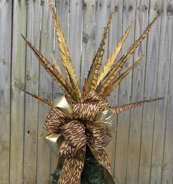 Christmas Tree Topper - Copper Brown and Gold Tree Top Bow - Animal Print with Feathers -  Double Sided - Additional Tree Top Wildness