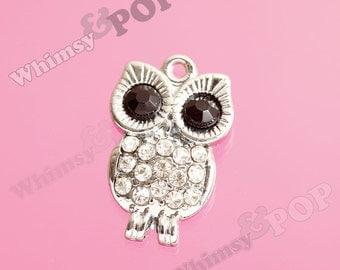 1 - Silver Bling Owl Crystal Rhinestone Charm Pendant, Owl Charm, 14mm x 22mm (5-1A)