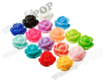 Mixed Color Rose Beads, Flower Beads, Drilled Flowers, 9mm Flower Beads, 1mm Hole (R6-159/174)