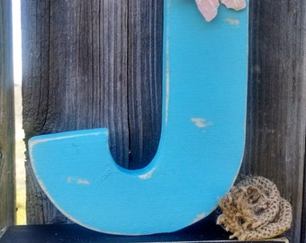 Shabby chic letter J, shelf sitter