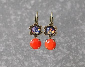 Black Opal Coral Earrings Crytstal Coral Orange Vintage German Glass Black Opal Floral Rhinestone Drop Tennis Leverback
