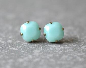 Mint Green Swarovski Studs Earrings Swarovski Opaque Mint Post or Clip On Earrings Mashugana