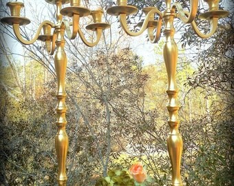 "2@25"" Gold Candelabra Vase Top 4 Prong-Outdoor Decor,Tall Candelabra,tall vase,Flower Stand,Chic,Pomander,live floral stand,Gold,Candlestick"