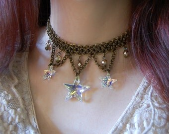 Crystal star necklace, bronze chainmaille necklace, chain mail choker, gothic medieval elf armour witchy choker, witch jewelry wiccan choker