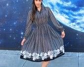 SALE 1970s Dress Midi Semi Sheer Ruffle Floral  // Size Medium / Small / Large