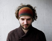 Knitted Mens Headband Guys knit hair wrap - orange beige petrol Adults Dreadband Dredlocks  Acessories
