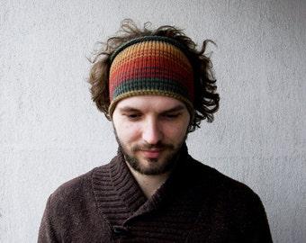 Knitted Mens Headband Guys knit hair wrap - orange beige petrol Adults Dreadband Dredlocks  Acessories