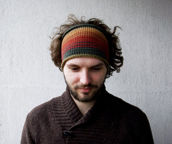 Knitted Mens Headband Guys knit hair wrap orange beige