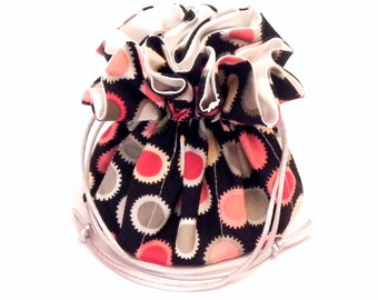 Drawstring Jewelry Bag Pouch - Jewelry organizer -  Polka dots travel bag in red, coral, pink and black - Henry Alexander fabric