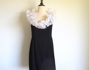 Vintage Black Sheath, Ruffle Neckline Dress, 70s Short Evening Dress
