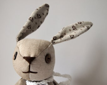 Fabric articulated bunny  patchwork
