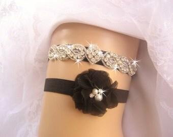 Black Wedding Garter w/ Rhinestones Bridal Garter / Crystal Garter / Toss Garter / Garter Belt / Garder