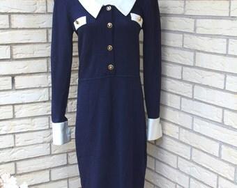 1980's St. John Dress Navy Cream Knit Career 8 Medium
