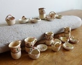 Miniature (18) piece vintage hand painted Mexican glazed dollhouse pottery - 1/2 inch