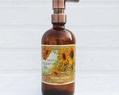 XL Sunflower Kitchen Soap Dispenser Pump | Country Bathroom Decor | Glass Soap Dispenser Bottle | French Farmhouse Decor | Soap Container