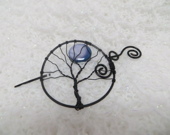 Wire Wrapped Tree Shawl Pin, Black Tree of Life Hair Pin, Halloween Tree Of Life Pin, Black Tree Hair Accessory