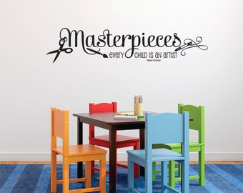 New Wall Decal - Masterpieces Wall Decal- Every Child Is An Artist Childrens Decor Vinyl Lettering - Playroom Wall Decal -Vinyl Wall Decal