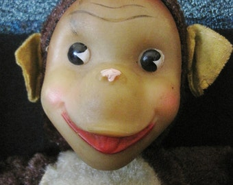 Vintage Stuffed Plush Monkey - Rubber Face Straw Filled - Unmarked