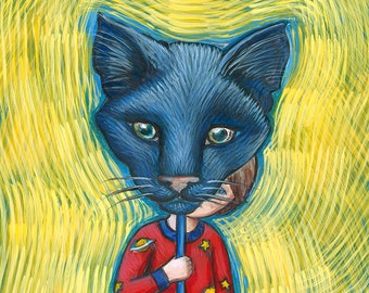 Boy with a Black Cat Mask illustration - kids wall storybook art print