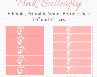 Water Bottle Labels, Pink Butterfly, Girl Baby Shower, Bridal Shower Decor, Birthday Party Decorations - Editable, Printable, Instant