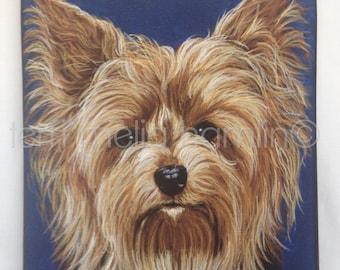 Yorkie Dog Giclee Print, Dog Art Canvas Reproduction, Yorkshire Terrier Print, Pet Print of Original Painting, Yorkie Portrait