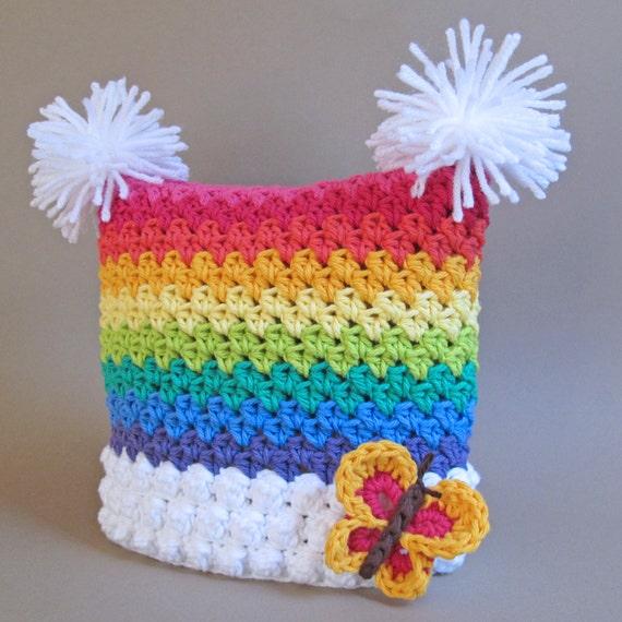 CROCHET PADRÃO - Over the Rainbow - um chapéu quadrado colorido com borboleta e pompons em 6 tamanhos (Infantil - Adulto P) - Instant PDF Download