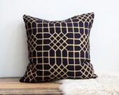 "Penn Grid 18x18"" pillow cover in metallic gold hand printed on indigo organic hemp"